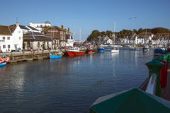 Weymouth Harbour. Quayside view at Weymouth Harbour Dorset Stock Image