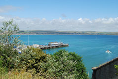 Weymouth Pier. With Dorset hills beyond from Nothe Fort Royalty Free Stock Images
