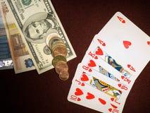 wezbranego pieniądze królewski stół Obrazy Stock