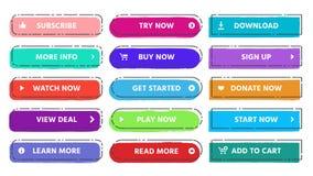 Wezwanie akcja guzik Czyta więcej, prenumeruje teraz sieć guziki z żywym mieszkaniem odizolowywającym i kupuje, kolorów i grunge  ilustracja wektor