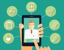 Wezwanie fabrykować pojęcie Ręka chwytów telefon z uśmiechniętą lekarką Ilustracji