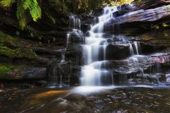 Wf Somersby Front Top Part. Smoth blurred water stream flowing down the sandstone rocks in Australian central coast ancien Gondwana rainforest gumtree park Stock Image