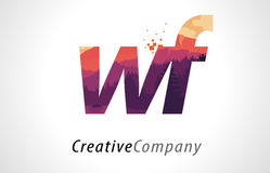 WF W F Letter Logo Design with Purple Forest Texture Flat Vector Stock Photo