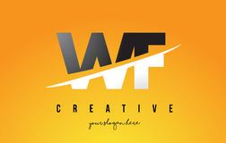 WF W F Letter Modern Logo Design with Yellow Background and Swoo Stock Photos