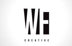 WF W F White Letter Logo Design with Black Square. royalty free illustration