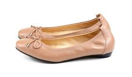 Wflats butów skóra odizolowywająca na białym tle fotografia royalty free