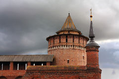 Wfll и башни стены Kolomna Кремля Стоковые Изображения