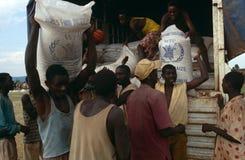 WFP supplies for distribution in Burundi. Stock Photos