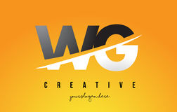 WG W G Letter Modern Logo Design with Yellow Background and Swoo Royalty Free Stock Photos