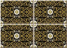 Wh della vite della struttura dell'oro dell'incrocio della curva di spirale del controllo del modello della piastrella di ceramic illustrazione vettoriale