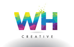 WH W H Colorful Letter Origami Triangles Design Vector. Stock Images