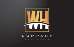 WH W H Golden Letter Logo Design with Gold Square and Swoosh. Royalty Free Stock Photography