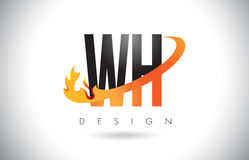 WH W H Letter Logo with Fire Flames Design and Orange Swoosh. Royalty Free Stock Photography