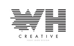 WH W H Zebra Letter Logo Design with Black and White Stripes Stock Photos