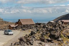 Whakapapa Village on Mount Ruapehu Volcano, Tongariro National Park, New Zealand stock photo