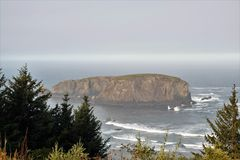 Whale`s Head Rock Formation. Whale's Head formation, coastal attraction along Oregon's 12-mile Samuel H. Boardman State Scenic Corridor Royalty Free Stock Photo