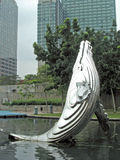 Whale. A scuplture of a whale in a park royalty free stock photos