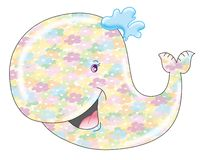Whale. Nice and smiling whale whit whole-body flower tattoo Royalty Free Stock Photos