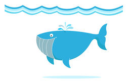 Whale. Blue big whale under the sea illustration Stock Photo