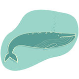 Whale. Illustration of a blue whale swimming isolated + vector file Royalty Free Stock Image