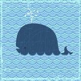 The Whale. Grunge summer banner with whale, vector eps10 format Stock Images