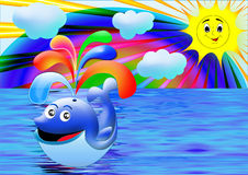 Whale against a rainbow. Smiling whale against a sea and sun rainbow Royalty Free Stock Photo