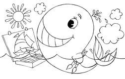 Whale artist. Black-and-white illustration (coloring page): funny whale drawing a picture on waves Stock Images