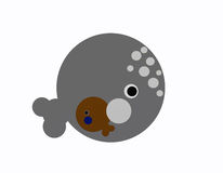 Whale with baby inside. A whale with baby inside Vector Illustration