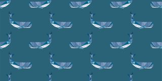 Whale orca pattern polygonal style seamless pattern royalty free illustration