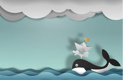 Whale with boat paper art copy space vector paper cut cute. Illustration Royalty Free Stock Images