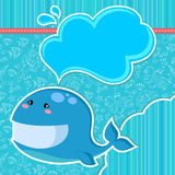 Whale card. Whale over seamless doodle pattern and other design elements Stock Images
