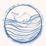 Whale cartoon illustration isolated on light wave background, vector colorful doodle animal, round frame line art. Character design for greeting card, children Royalty Free Stock Images
