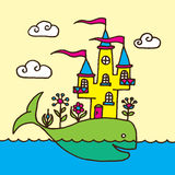 Whale and Castle Children's Drawing Royalty Free Stock Image
