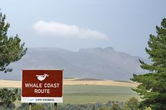 Whale Coast Route sign. Sign for the Whale Coast Route on the highway outside Gansbaai, South Africa stock photo