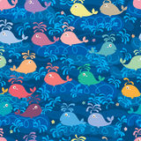 Whale color line swim seamless pattern Stock Photography