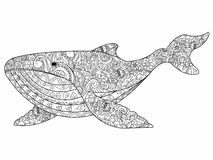 Whale coloring vector for adults Stock Photography