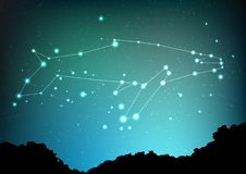 Whale constellation vector art. Sea whale in constellations and star on night sky and forest landscape. Starry whale in. Deep dark sky with line and shiny dots Royalty Free Stock Photo