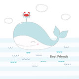 Whale and crab swimming in the sea. Hand drawn vector illustration of a cute whale with a fountain, and a crab, swimming in the sea under the clouds, with text Stock Photos