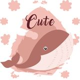 Whale cute animal cartoon. Whale cute cartoon on white and pink colors with floral background vector illustration Royalty Free Stock Photography