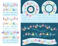 Whale cute pattern brush. This illustration is design whale color with pattern brush and seamless pattern. Display in circle and line Stock Photos