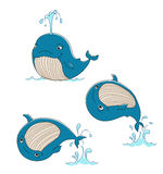 Whale. Cute whale swims, jumps out of the water,  illustration Royalty Free Stock Photography