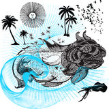 The whale, danger predator. Jpeg and vector picture with old style drawing of the whale Royalty Free Stock Photos