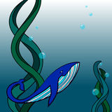 Whale in the depths of ocean. Illustration of a whale swimming in the ocean. Digital art Stock Photo
