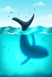A Whale Dives Underwater. A jpg illustration of a Whale diving into the depths of the ocean royalty free illustration