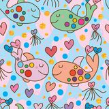 Whale double love seamless. This illustration is design and drawing whale with double love and love shape cuttlefish, circle golden glitter and blue color Stock Image