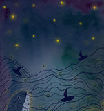 Whale dreaming. A whale is deep down in the sea under shining stars in the night sky on watercolor background Stock Photography