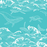 Whale family swimming in the ocean waves, pattern seamless. Background hand drawn Asian style vector illustration