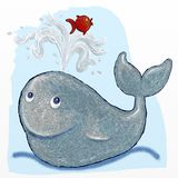 Whale and fish. Funny whale and fish, digital painting Stock Photography
