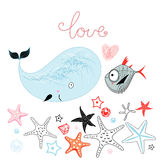 Whale and fish lovers. Fun loving whale and a fish on a white background with the sea stars Royalty Free Stock Images