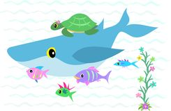 Whale, Fish, and Turtle Group stock illustration